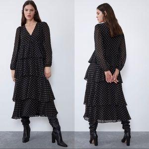 Zara polka dots midi dress with ruffles, black